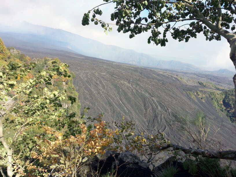 Mount Etna lava flow downstream