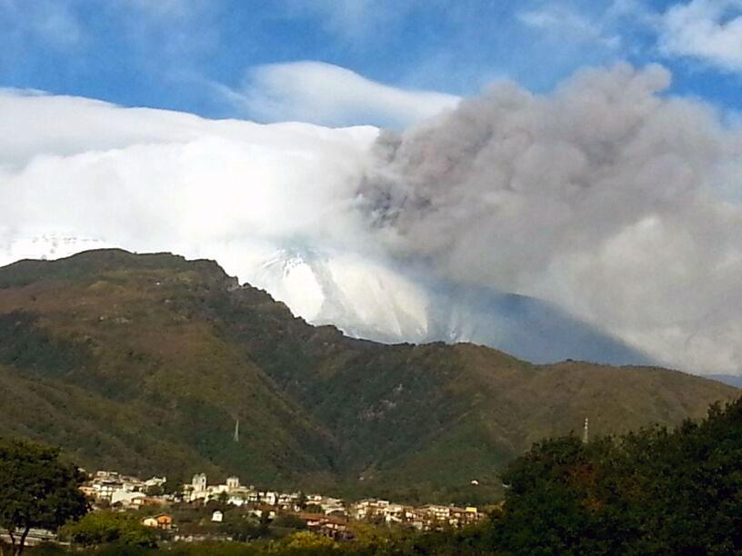 Etna eruption view